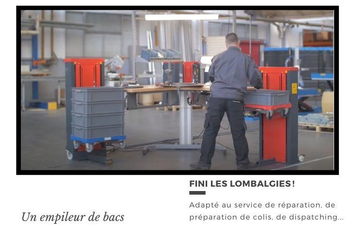 L'empileur de bacs en action dans un atelier de stockage. L'ergonomie au travail peut donner des résultats concrets.